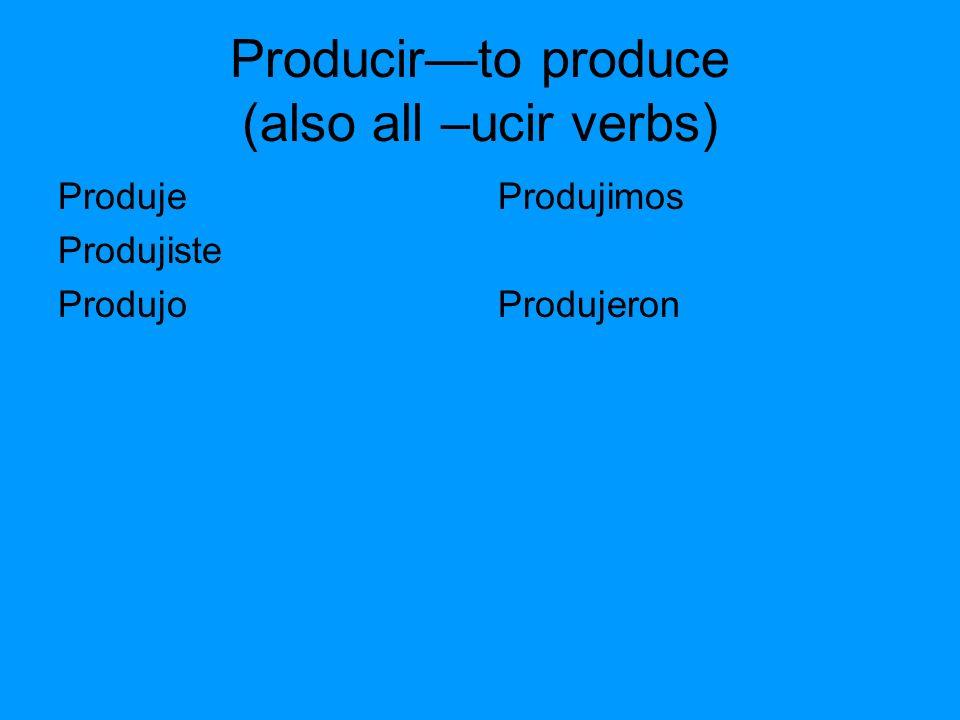 Producirto produce (also all –ucir verbs) Produje Produjiste Produjo Produjimos Produjeron