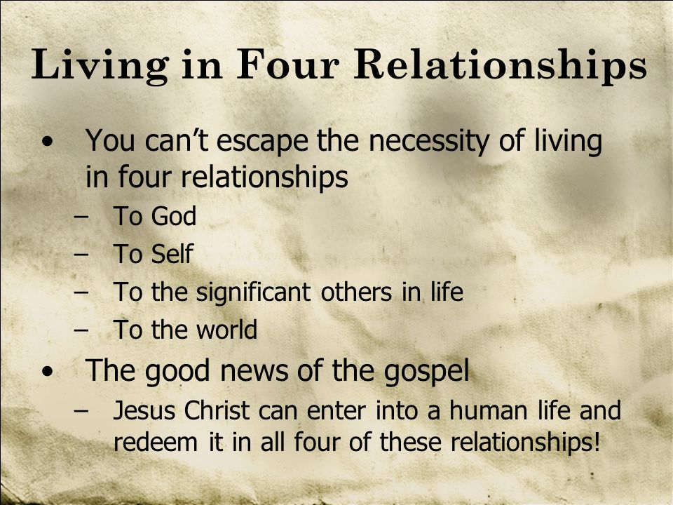 Living in Four Relationships You cant escape the necessity of living in four relationships –To God –To Self –To the significant others in life –To the
