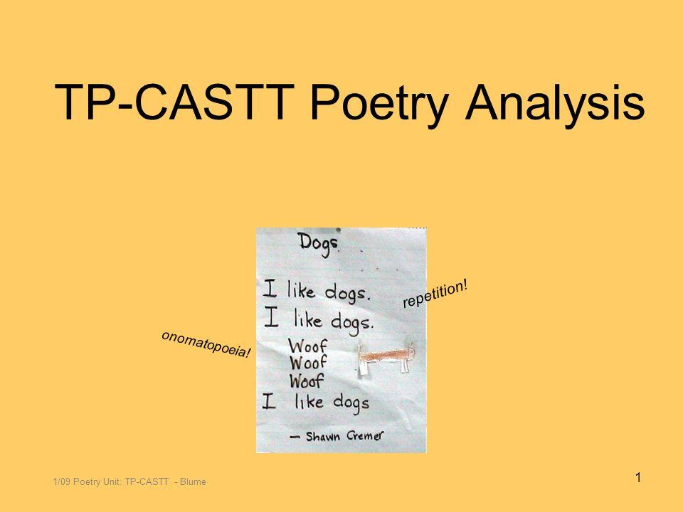 TP-CASTT Poetry Analysis 1/09 Poetry Unit: TP-CASTT - Blume 1 repetition! onomatopoeia!