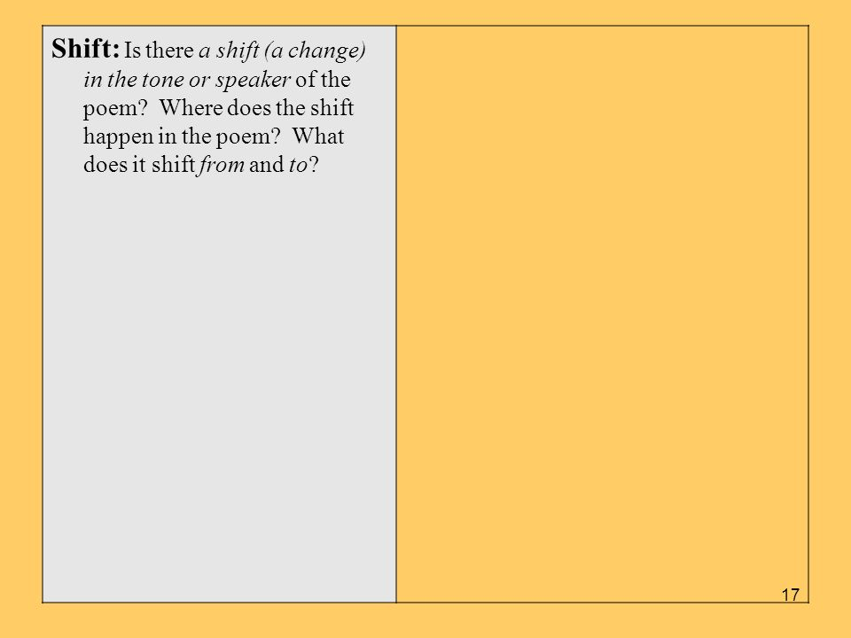 Shift: Is there a shift (a change) in the tone or speaker of the poem? Where does the shift happen in the poem? What does it shift from and to? 17