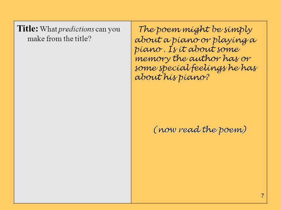 Title: What predictions can you make from the title? The poem might be simply about a piano or playing a piano. Is it about some memory the author has