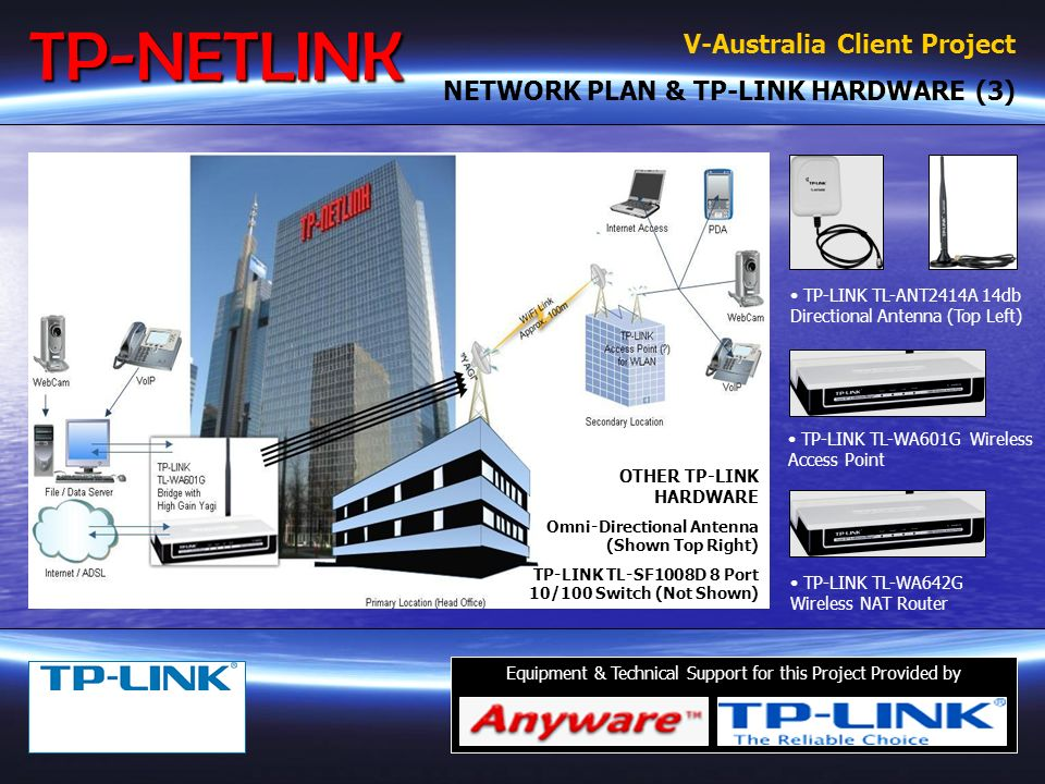 V-Australia Client Project SOLUTION PROVIDED (2) TP-NETLINK presented V-Australia with a range of possible solutions to meet their specific requirements and to a budget comparable with the size of their operation.