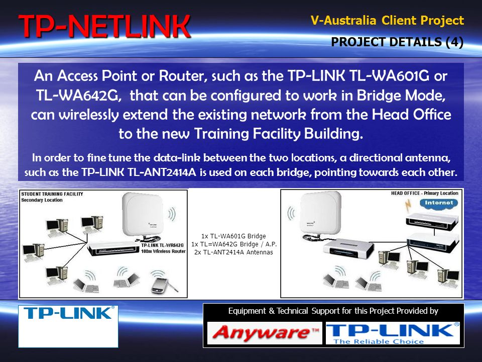 TP-LINK TL-WA601G Wireless Access Point TP-LINK TL-ANT2414A 14db Directional Antenna (Top Left) Equipment & Technical Support for this Project Provided by TP-LINK TL-WA642G Wireless NAT Router OTHER TP-LINK HARDWARE Omni-Directional Antenna (Shown Top Right) TP-LINK TL-SF1008D 8 Port 10/100 Switch (Not Shown) TP-NETLINK V-Australia Client Project NETWORK PLAN & TP-LINK HARDWARE (3)