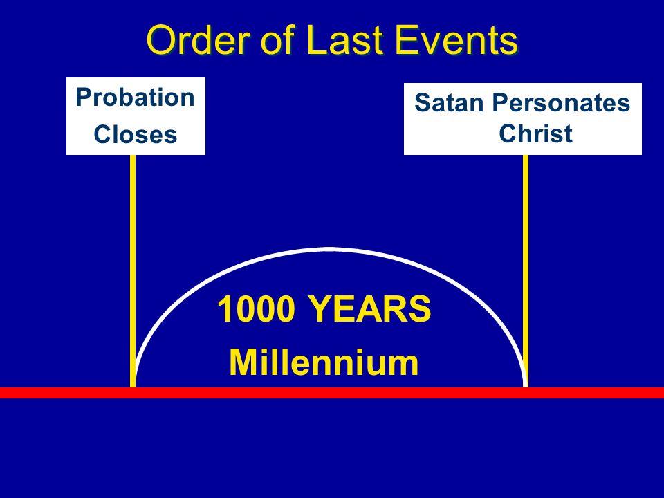 Order of Last Events 1000 YEARS Millennium Probation Closes Satan Personates Christ