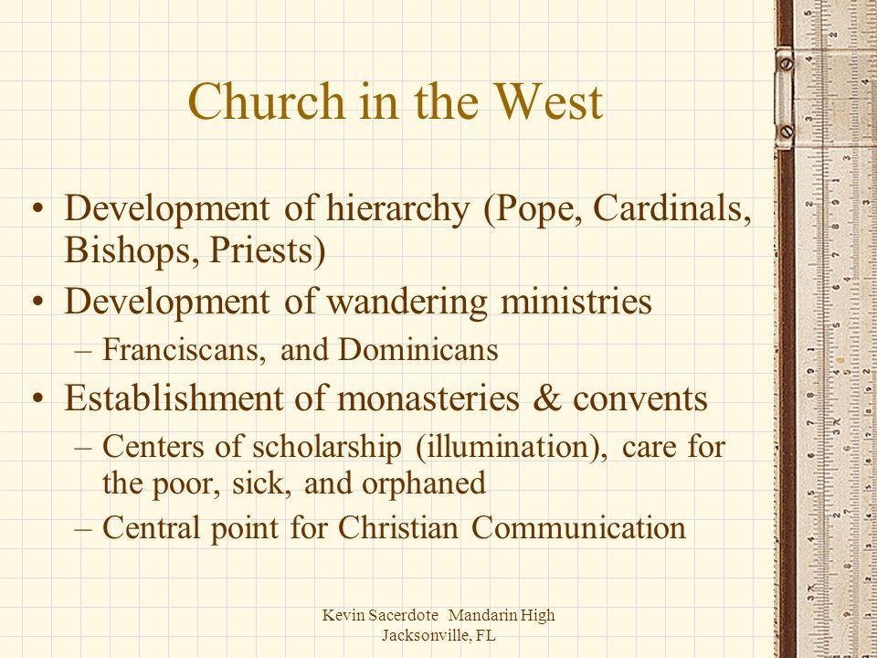 Kevin Sacerdote Mandarin High Jacksonville, FL Church in the West Development of hierarchy (Pope, Cardinals, Bishops, Priests) Development of wanderin