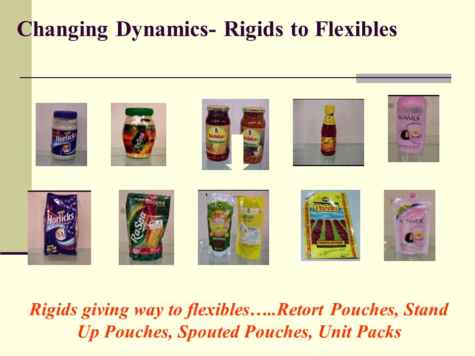 Changing Dynamics- Rigids to Flexibles Rigids giving way to flexibles…..Retort Pouches, Stand Up Pouches, Spouted Pouches, Unit Packs