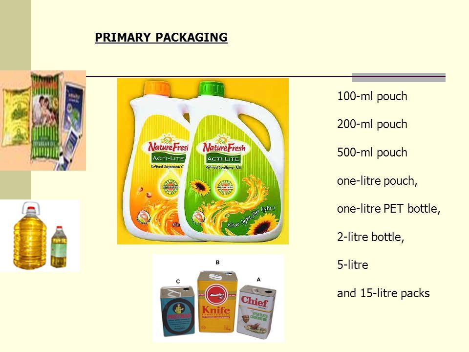 100-ml pouch 200-ml pouch 500-ml pouch one-litre pouch, one-litre PET bottle, 2-litre bottle, 5-litre and 15-litre packs PRIMARY PACKAGING