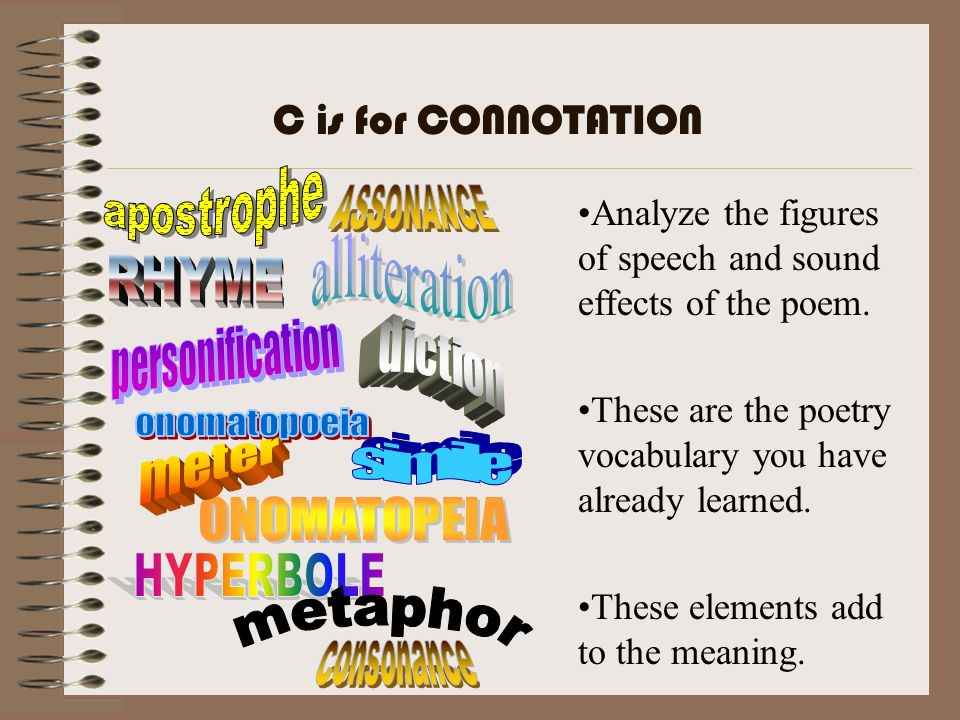Analyze the figures of speech and sound effects of the poem. These are the poetry vocabulary you have already learned. These elements add to the meani