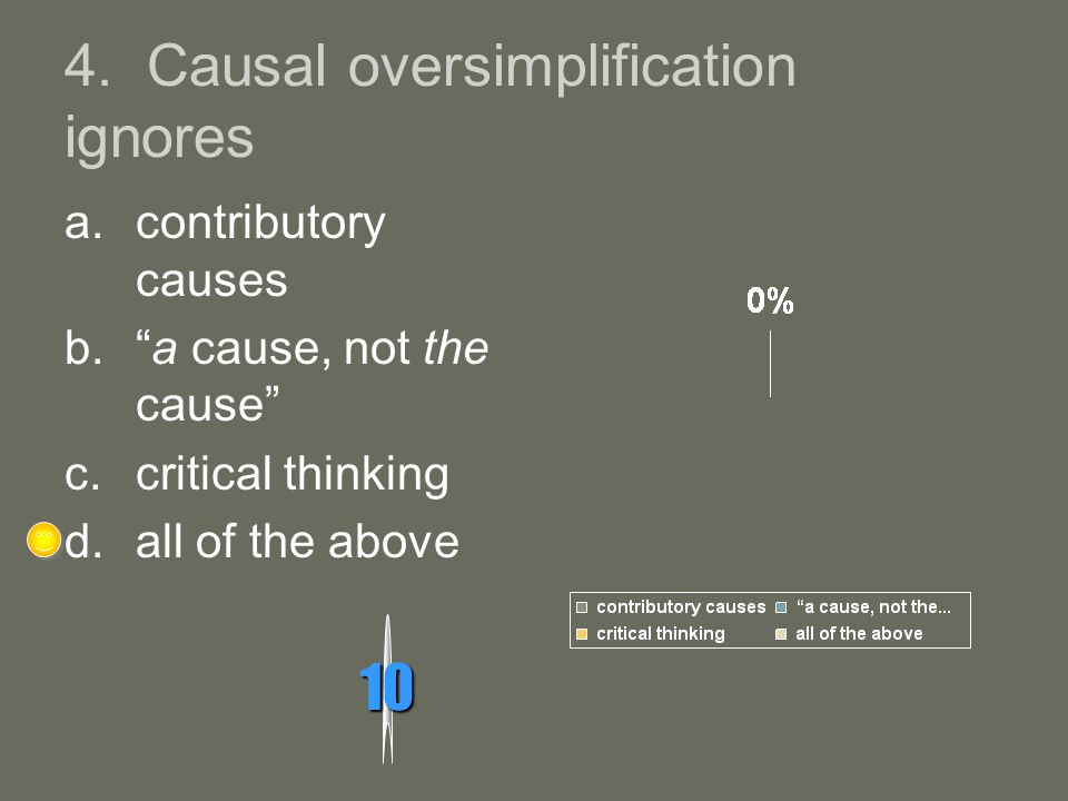 4. Causal oversimplification ignores 10 a.contributory causes b.a cause, not the cause c.critical thinking d.all of the above