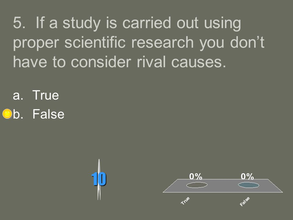 5. If a study is carried out using proper scientific research you dont have to consider rival causes. 10 a.True b.False