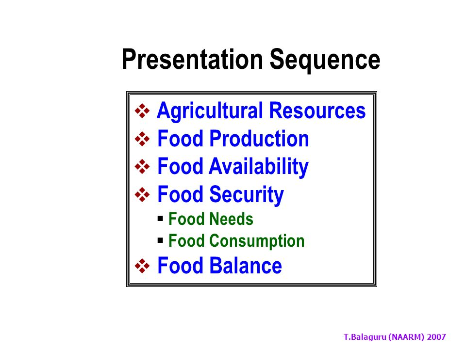 T.Balaguru (NAARM) 2007 Trends in Food Production, Availability and Food Balance in India and World Dr.T.Balaguru Head – ARSMP Division National Academy of Agricultural Research Management Rajendranagar, Hyderabad - 30 January 24, 2007