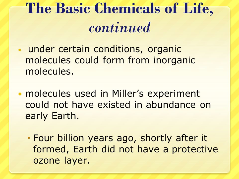 Precambrian Time, continued As oxygen reached Earths upper atmosphere, the suns rays caused some of the oxygen gas (O 2 ) to chemically react and form molecules of ozone (O 3 ).
