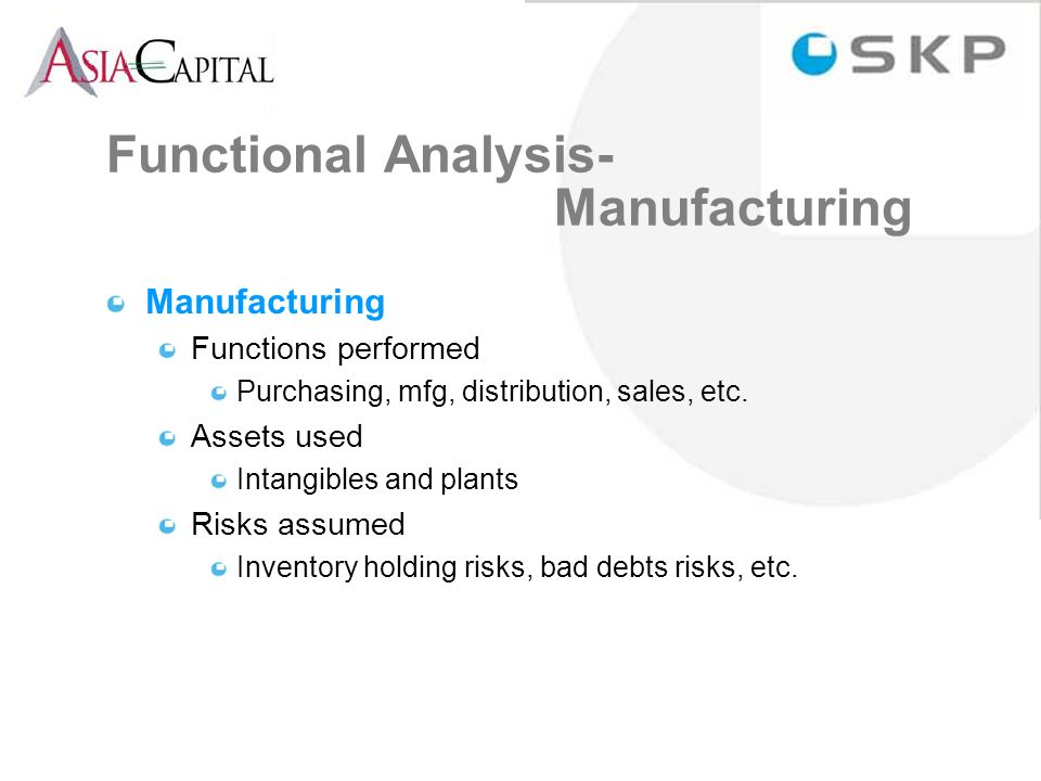 Functional Analysis- Manufacturing Manufacturing Functions performed Purchasing, mfg, distribution, sales, etc.