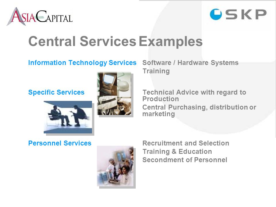 Central ServicesExamples Information Technology Services Software / Hardware Systems Training Specific Services Technical Advice with regard to Production Central Purchasing, distribution or marketing Personnel Services Recruitment and Selection Training & Education Secondment of Personnel