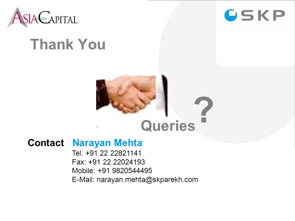 Contact Narayan Mehta Tel: +91 22 22821141 Fax: +91 22 22024193 Mobile: +91 9820544495 E-Mail: narayan.mehta@skparekh.com Queries .