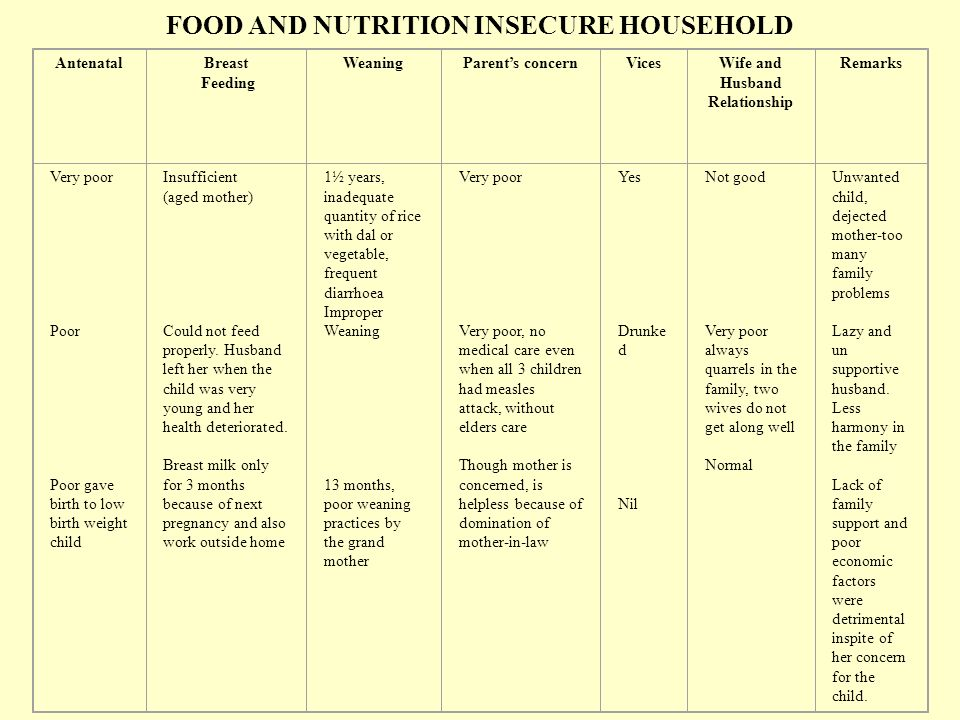 FOOD AND NUTRITION INSECURE HOUSEHOLD AntenatalBreast Feeding WeaningParents concernVicesWife and Husband Relationship Remarks Very poor Poor Poor gave birth to low birth weight child Insufficient (aged mother) Could not feed properly.