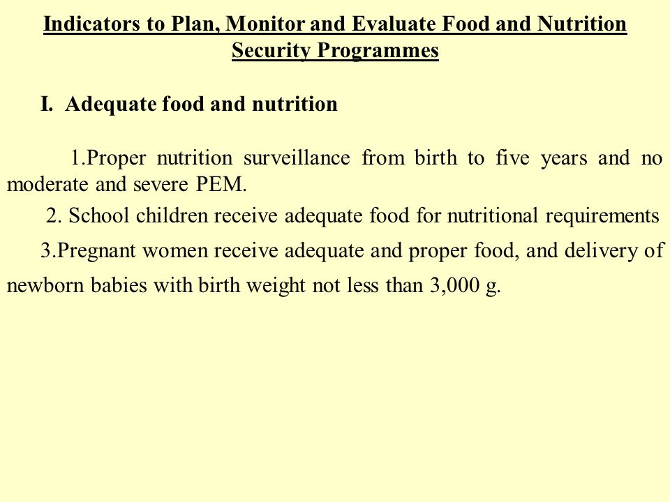 Indicators to Plan, Monitor and Evaluate Food and Nutrition Security Programmes I.