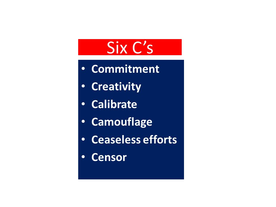 Six Cs Commitment Creativity Calibrate Camouflage Ceaseless efforts Censor