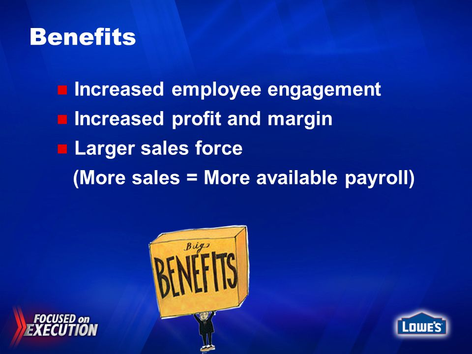 Benefits Increased employee engagement Increased profit and margin Larger sales force (More sales = More available payroll)