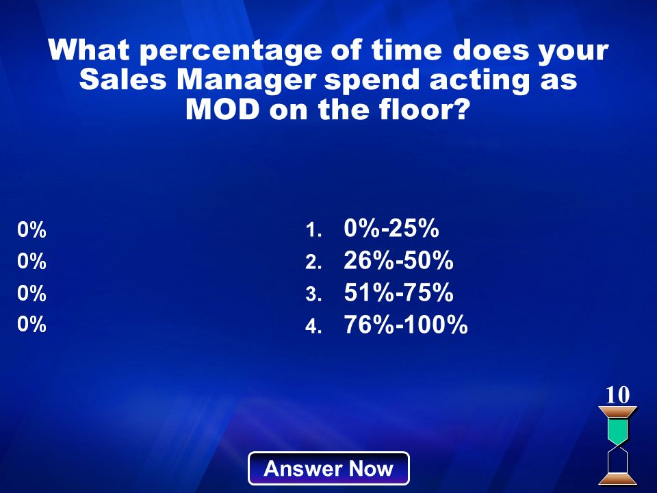 What percentage of time does your Sales Manager spend acting as MOD on the floor? Answer Now 10 1. 0%-25% 2. 26%-50% 3. 51%-75% 4. 76%-100%