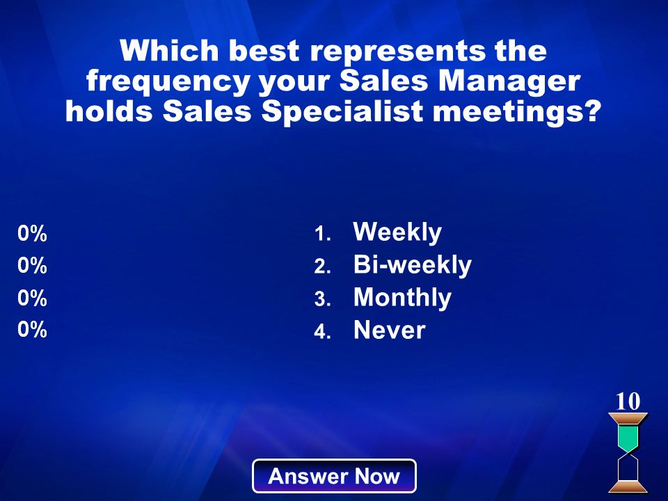 Which best represents the frequency your Sales Manager holds Sales Specialist meetings? Answer Now 10 1. Weekly 2. Bi-weekly 3. Monthly 4. Never