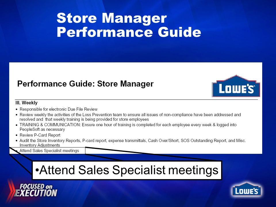 Store Manager Performance Guide Attend Sales Specialist meetings
