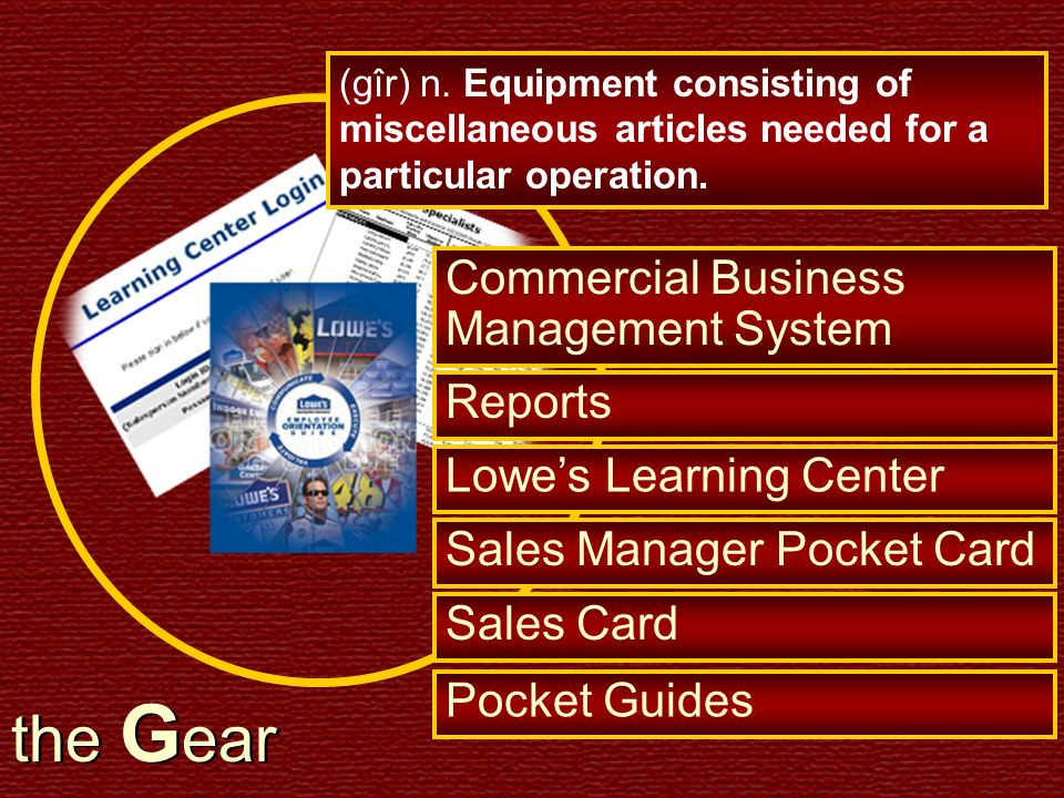 the G ear (gîr) n. Equipment consisting of miscellaneous articles needed for a particular operation. Commercial Business Management System Reports Low