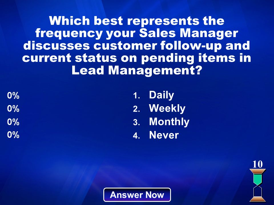 Which best represents the frequency your Sales Manager discusses customer follow-up and current status on pending items in Lead Management? Answer Now