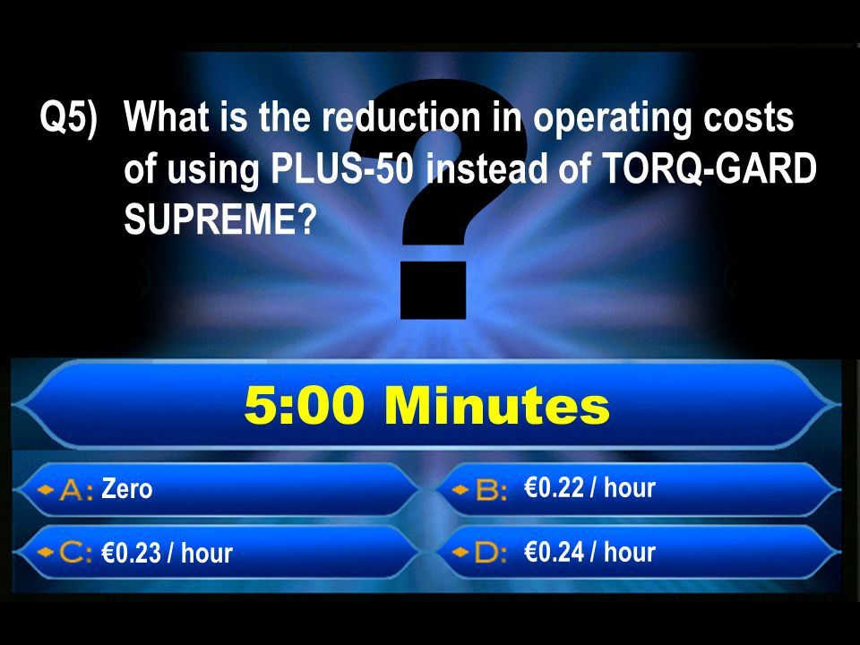 5:00 Minutes Zero 0.23 / hour 0.24 / hour 0.22 / hour Q5) What is the reduction in operating costs of using PLUS-50 instead of TORQ-GARD SUPREME