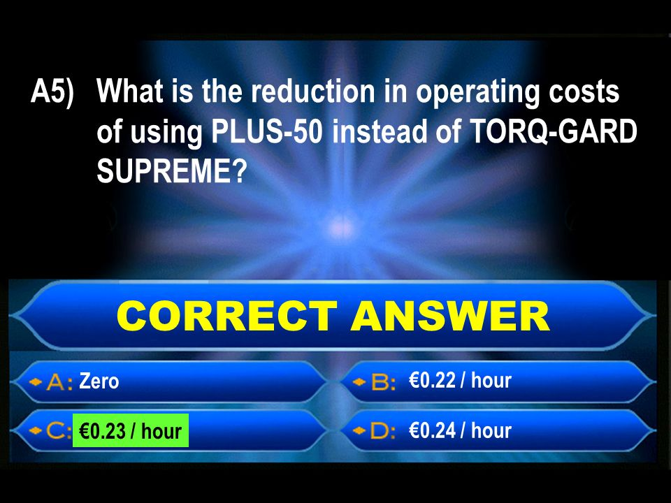 CORRECT ANSWER Zero 0.23 / hour 0.24 / hour 0.22 / hour A5) What is the reduction in operating costs of using PLUS-50 instead of TORQ-GARD SUPREME