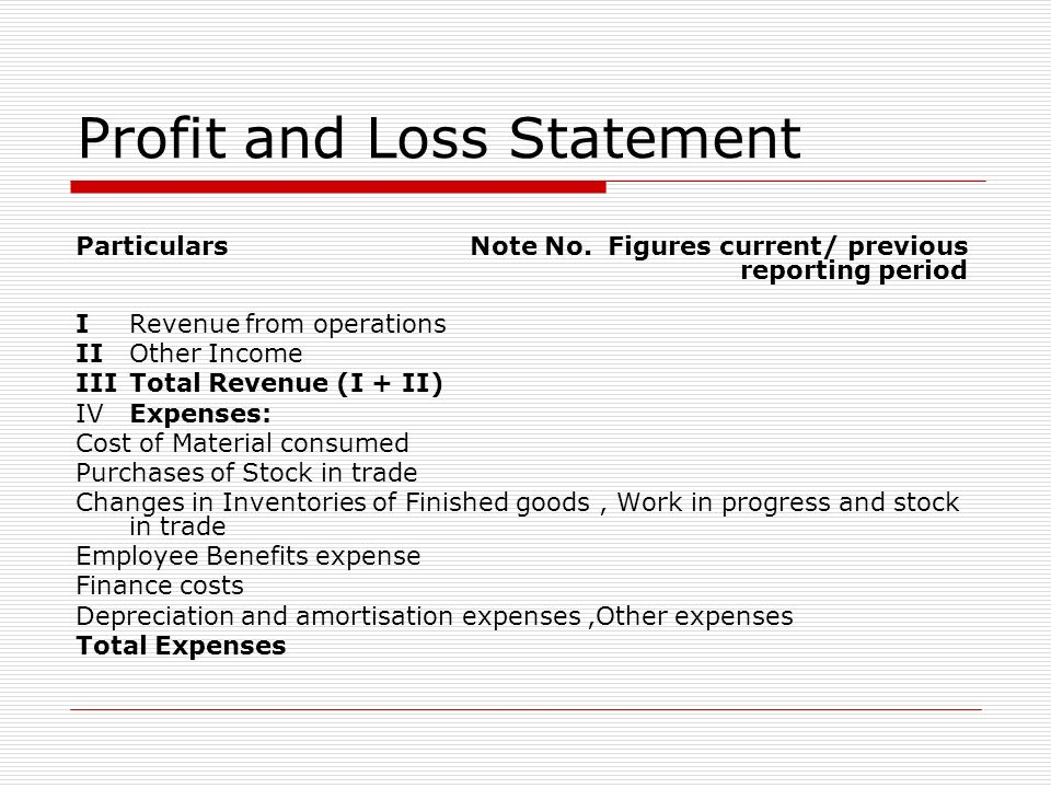 Profit and Loss Statement Particulars Note No. Figures current/ previous reporting period I Revenue from operations II Other Income III Total Revenue