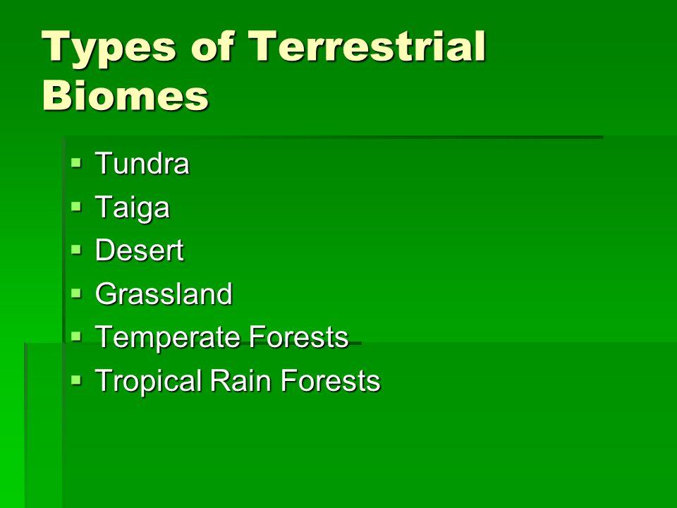 Types of Terrestrial Biomes Tundra Tundra Taiga Taiga Desert Desert Grassland Grassland Temperate Forests Temperate Forests Tropical Rain Forests Trop