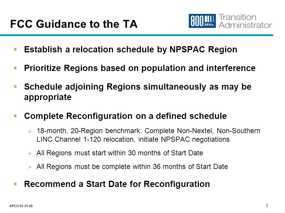 800 MHz Transition Administrator NPSPAC Regional Prioritization Plan APCO January 31, 2005