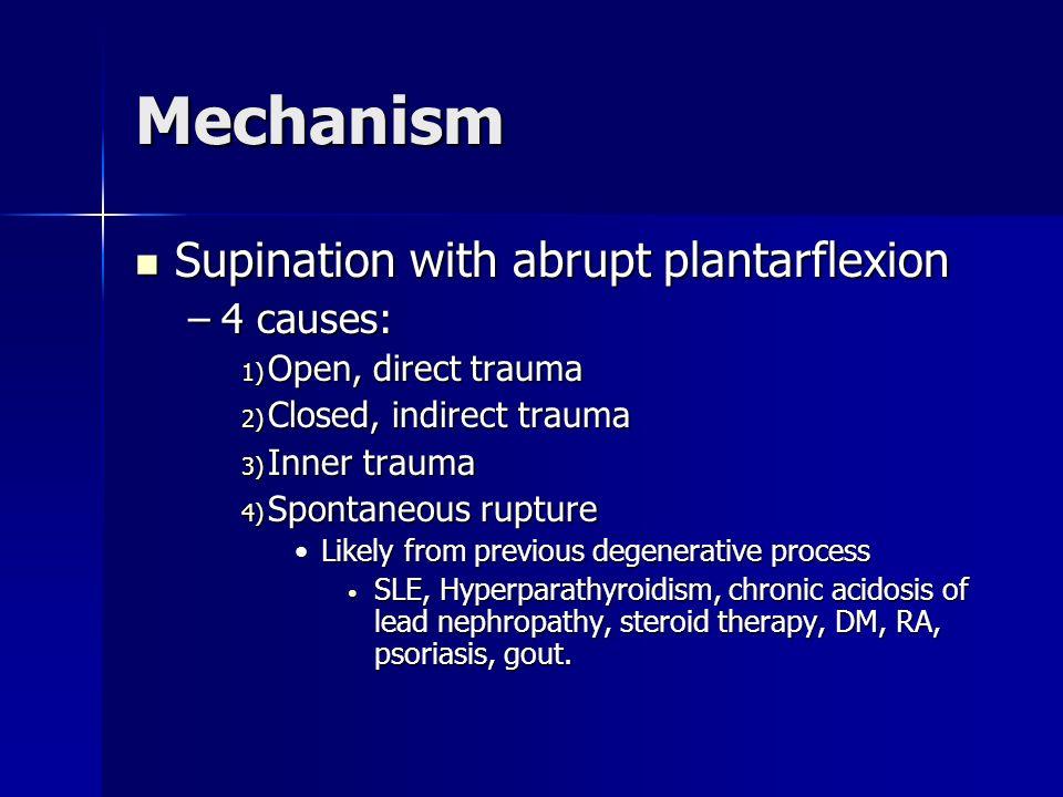 Mechanism Supination with abrupt plantarflexion Supination with abrupt plantarflexion –4 causes: 1) Open, direct trauma 2) Closed, indirect trauma 3)
