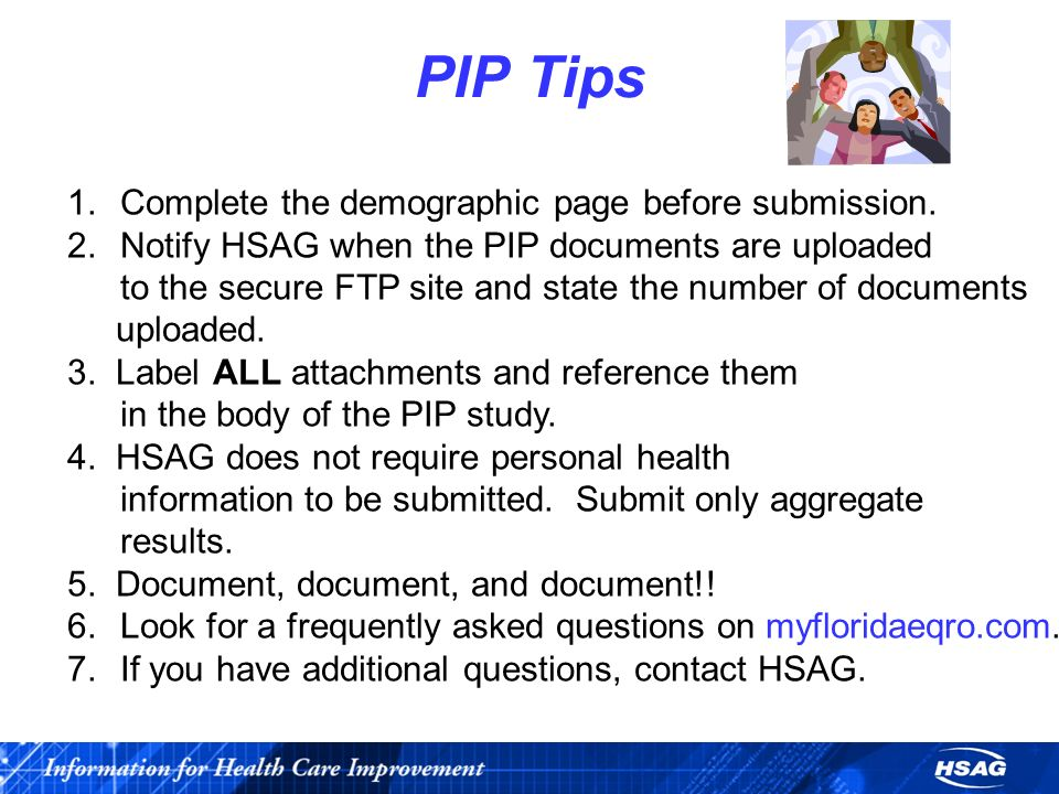 PIP Tips 1.Complete the demographic page before submission.