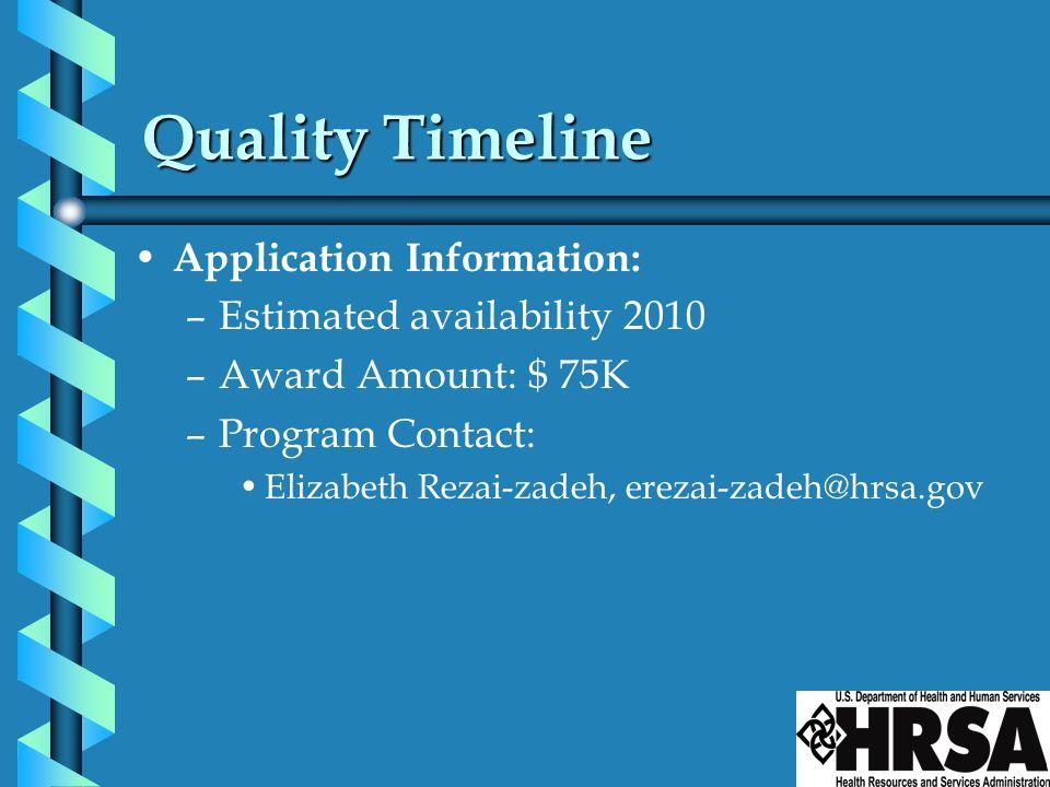 Quality Timeline Application Information: –Estimated availability 2010 –Award Amount: $ 75K –Program Contact: Elizabeth Rezai-zadeh, erezai-zadeh@hrsa