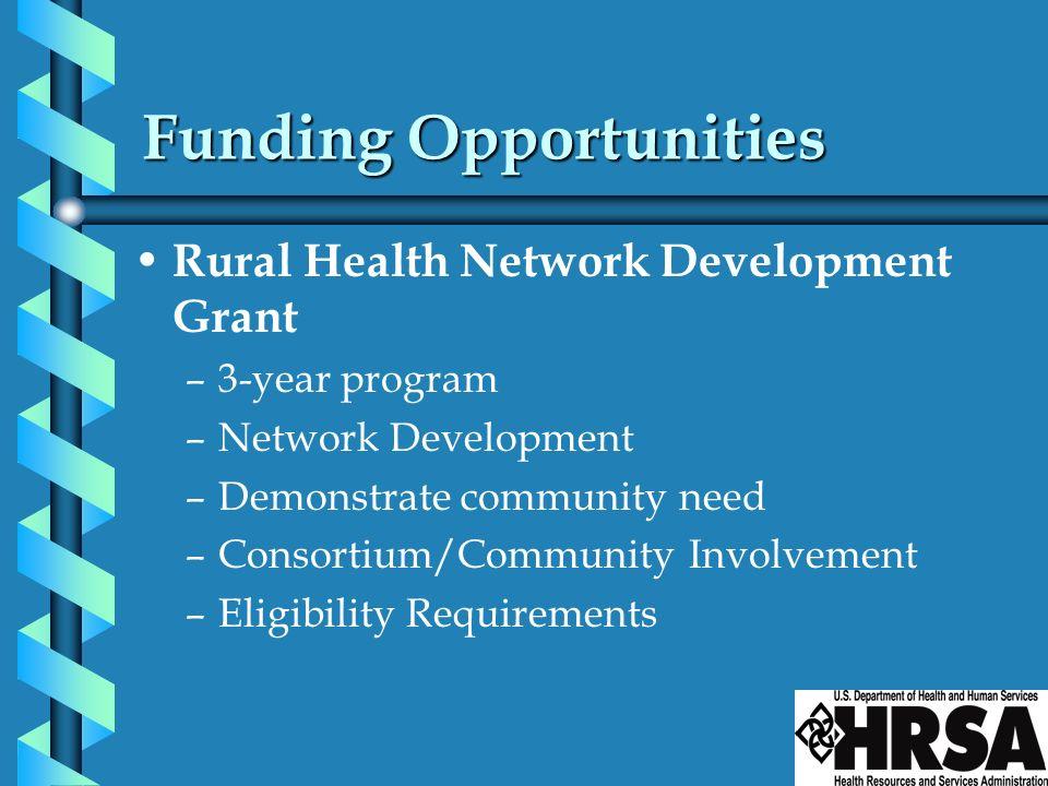 Funding Opportunities Rural Health Network Development Grant –3-year program –Network Development –Demonstrate community need –Consortium/Community In