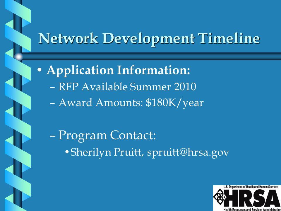 Network Development Timeline Application Information: –RFP Available Summer 2010 –Award Amounts: $180K/year –Program Contact: Sherilyn Pruitt, spruitt