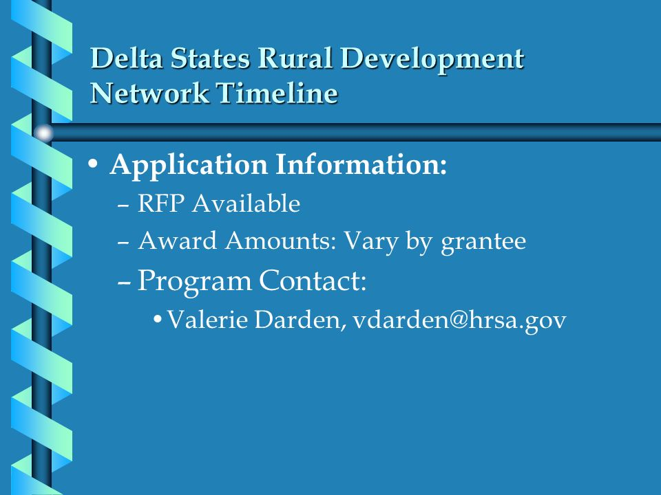 Delta States Rural Development Network Timeline Application Information: –RFP Available –Award Amounts: Vary by grantee –Program Contact: Valerie Dard