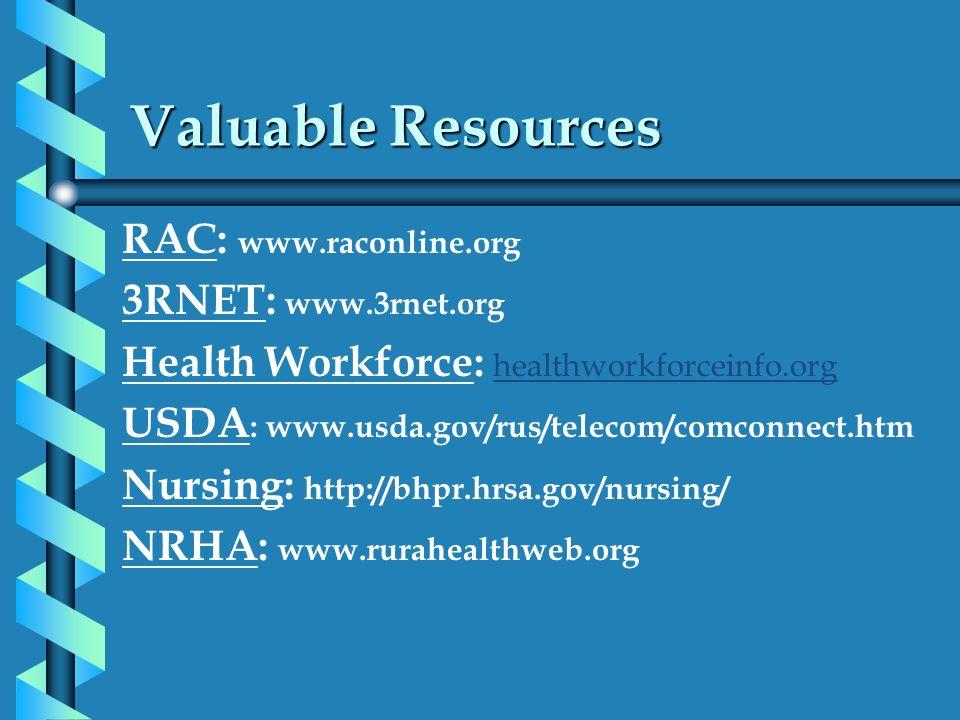 Valuable Resources RAC: www.raconline.org 3RNET: www.3rnet.org Health Workforce: healthworkforceinfo.org USDA : www.usda.gov/rus/telecom/comconnect.ht