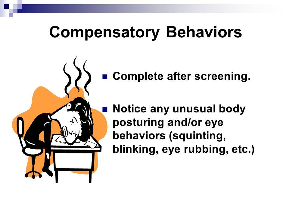 Compensatory Behaviors Complete after screening.