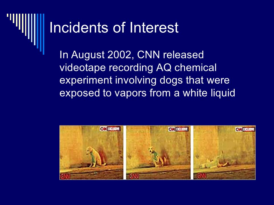 Incidents of Interest In August 2002, CNN released videotape recording AQ chemical experiment involving dogs that were exposed to vapors from a white liquid