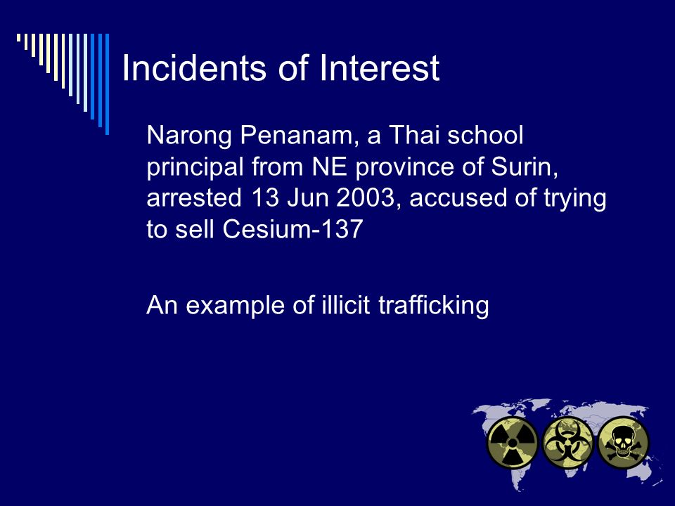 Incidents of Interest Narong Penanam, a Thai school principal from NE province of Surin, arrested 13 Jun 2003, accused of trying to sell Cesium-137 An