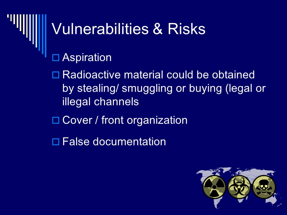 Vulnerabilities & Risks Aspiration Radioactive material could be obtained by stealing/ smuggling or buying (legal or illegal channels Cover / front organization False documentation