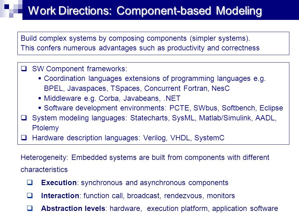 Work Directions: Component-based Modeling Heterogeneity: Embedded systems are built from components with different characteristics Execution: synchron