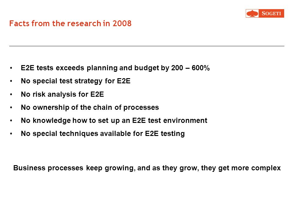 Facts from the research in 2008 E2E tests exceeds planning and budget by 200 – 600% No special test strategy for E2E No risk analysis for E2E No owner