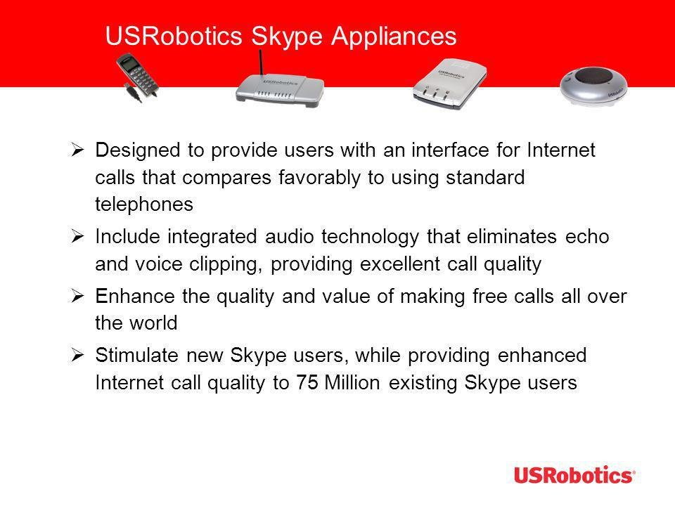 USRobotics Skype Appliances Designed to provide users with an interface for Internet calls that compares favorably to using standard telephones Includ