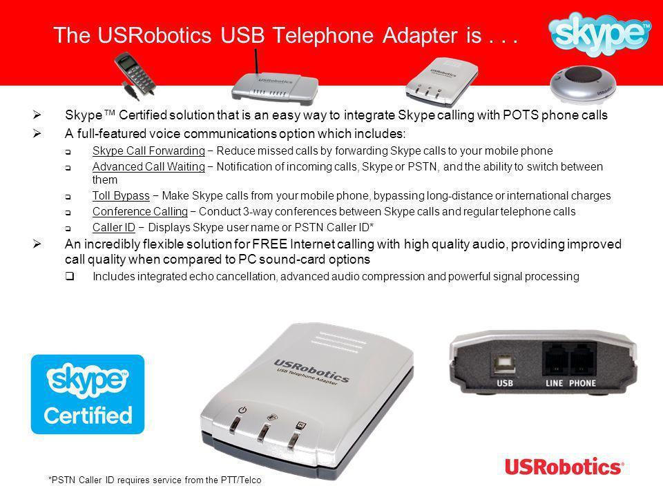 USR9620 Capabilities Makes Skype to Skype calls