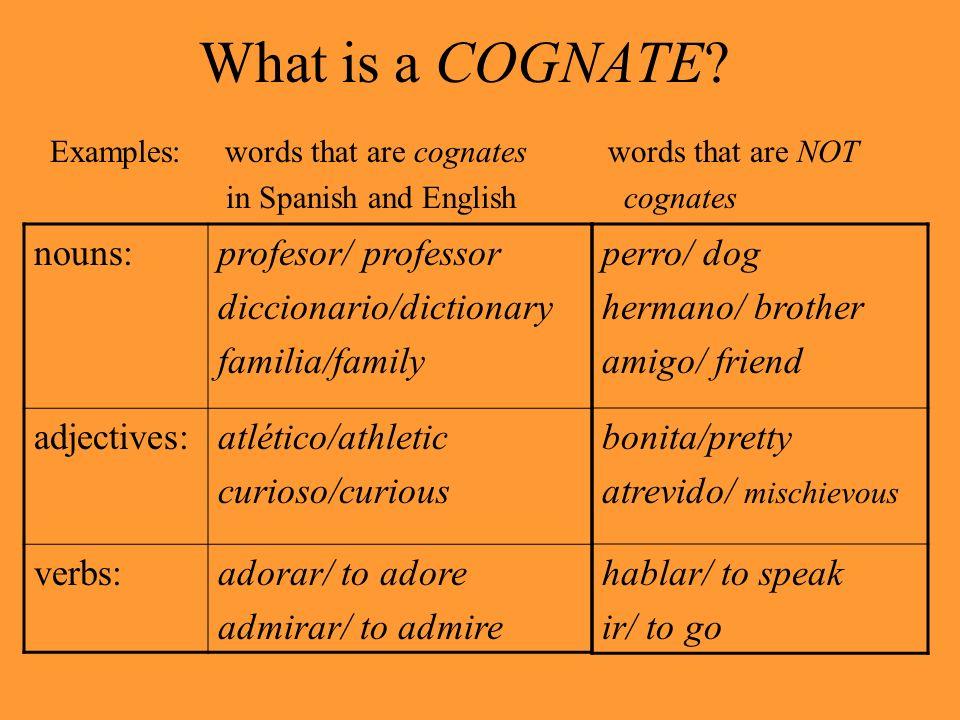 Definition: Cognate n.
