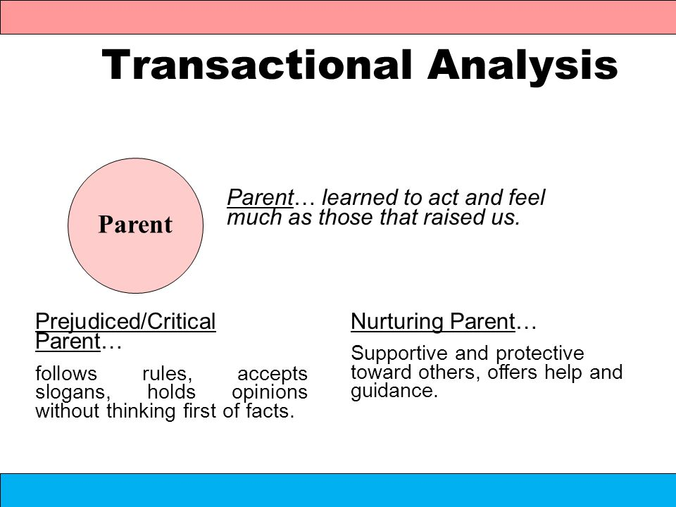 Transactional Analysis Parent… learned to act and feel much as those that raised us. Parent Prejudiced/Critical Parent… follows rules, accepts slogans